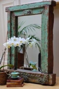 Distressed wooden mirror surround