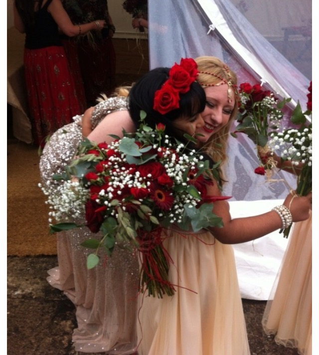 Bride and flower girl at her Rustic Fusion Wedding