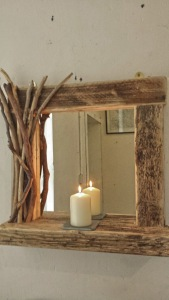 Rustic driftwood mirror with shelf and decorated frame