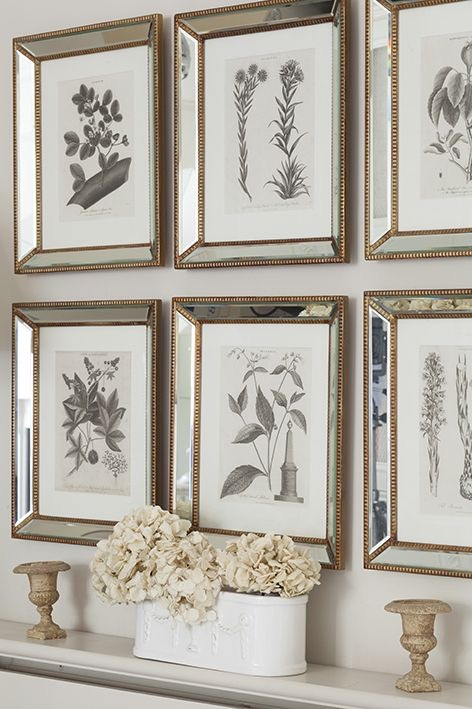 Set of pictures framed with mirror frames