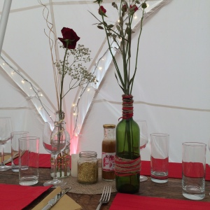 Simple table decor for a rustic fusion wedding