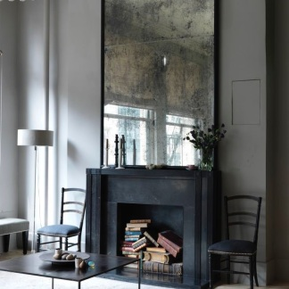 Large antiqued over mantle mirror