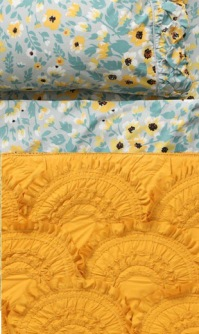 Yellow mixed and matched bedding By Anthropologie