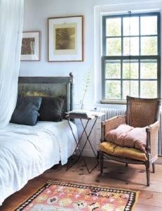 Ethnic patterned bedside rug in cottage