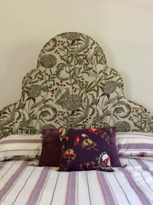 Large patterned Bedhead / Headboard with brass stud detailing