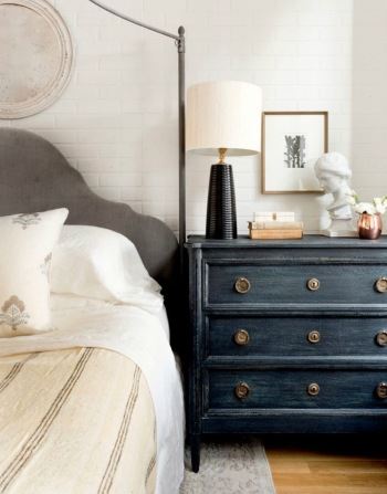 Chest of drawers used as a bedside cabinet