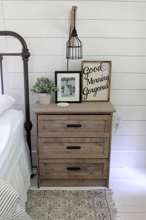 Small industrial looking bedside cabinet with drawers