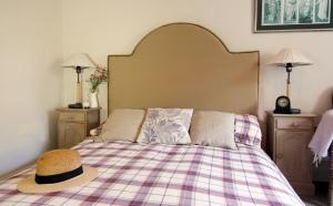Plain woven Linen Bedhead Headboard with brass tack trim