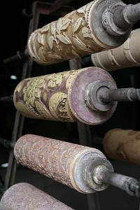 Wooden rollers used for printing William Morris wallpaper