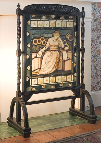 Stained glass fire screen by William Morris