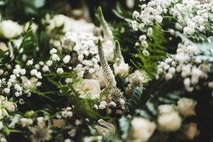 Close up shot of white flowers for woodland wedding bouquet