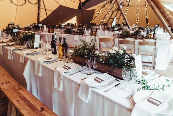 Tipi interior for a woodland wedding