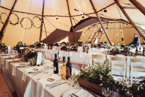 Tipi set up for a woodland wedding