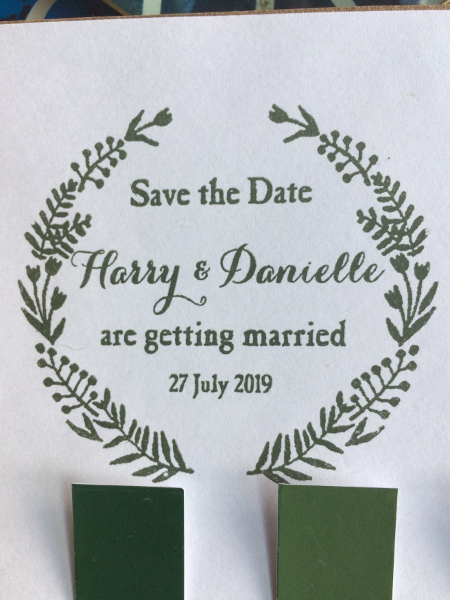 Save the date stamp for a woodland wedding