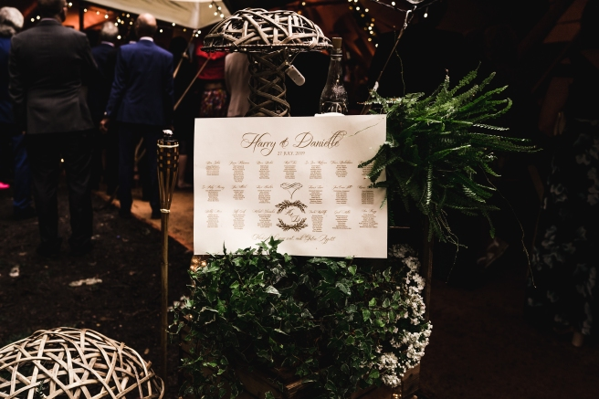 Table Plan at the Tipi entrance of a woodland wedding