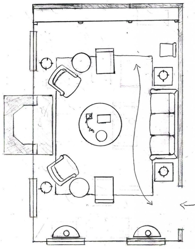 Basic drawing of a living room layout